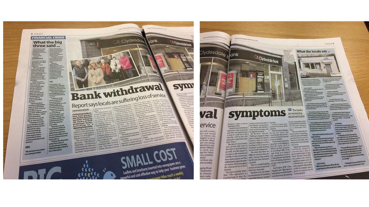 Cambuslang bank closures get national attention!