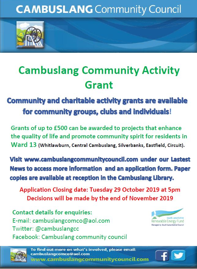 The Cambuslang Community Activity Grant Scheme is now open for applications!
