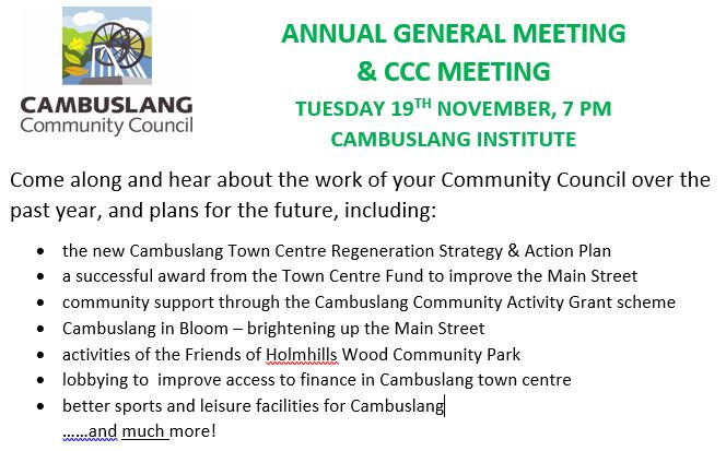 Our annual report to the community and future plans – AGM, 19th November