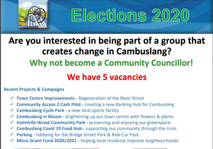 Would you like to join Cambuslang Community Council – we have 5 vacancies!