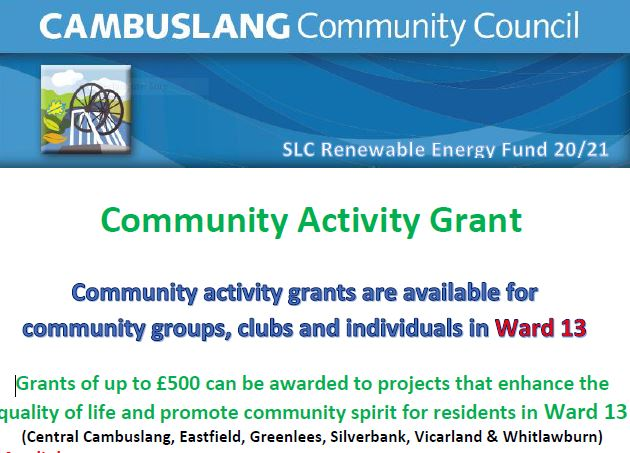 New Cambuslang Community  Activity Grant Scheme!